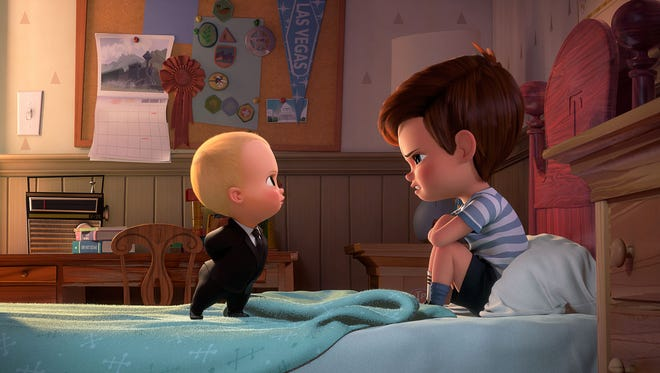 """Boss Baby (voiced by Alec Baldwin) tries to convince Tim (voiced by Miles Bakshi) that they must cooperate in """"The Boss Baby."""""""