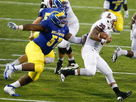 Delaware's Grant Roberts gets a hold of Lafayette's