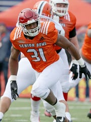 Edge rusher Obo Okoronkwo of Oklahoma was one of 11 draft picks by the Rams.