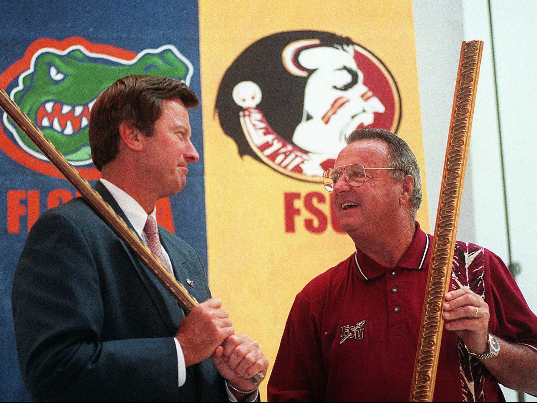 Steve Spurrier and Bobby Bowden helped grow the Florida-Florida State rivalry into what it is today. Here, the two are seen in a 1997 meeting.