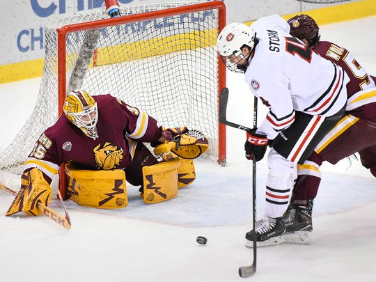St. Cloud State's Ben Strom has his shot blocked by University of Minnesota-Duluth goalie Hunter Miska during the first period Saturday, Nov. 5, at the Herb Brooks National Hockey Center.