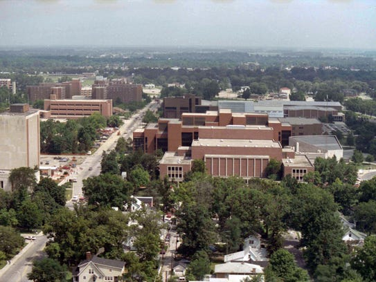 An aerial view of the Ball State University campus