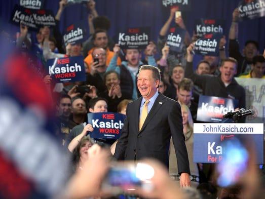 Ohio Gov. John Kasich addresses supporters at Baldwin