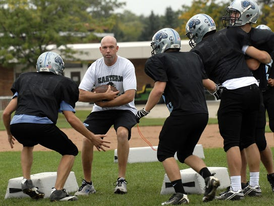 Ross Baldwin goes through a drill with the Lansing