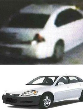 Surveillance photo (top) of car connected to homicide on Milwaukee's south side. A stock photo (bottom) is what the car may look like.