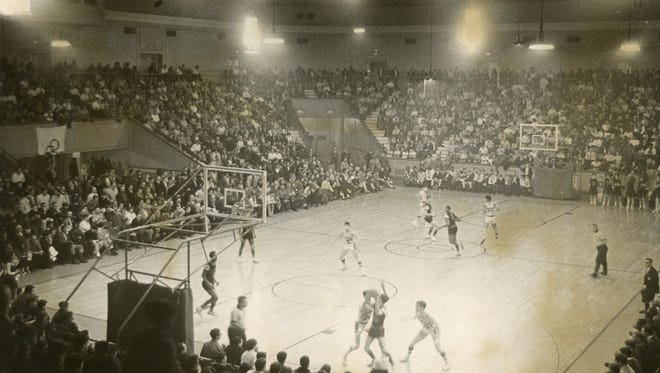 The scene inside a packed Convention Hall in Asbury Park for a 1968 Shore Conference semifinal, as Lakewood beat Neptune to end the Scarlet Fliers run of seven straight championships.