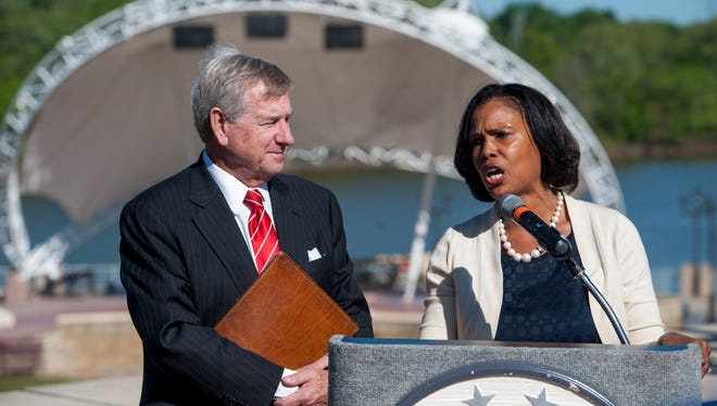 Montgomery Mayor Todd Strange and Chief of Staff Anita Archie introduce a new youth jobs program during a press conference at the Montgomery Riverwalk on Thursday April 7, 2016.