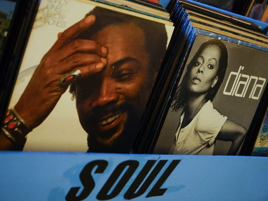 Albums for sale at SqueezeBox Records, a vintage vinyl record store in Wilmington.