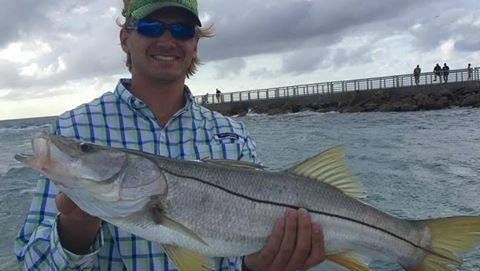 Chas Reynolds with a snook. These fish are typically found in South Florida.