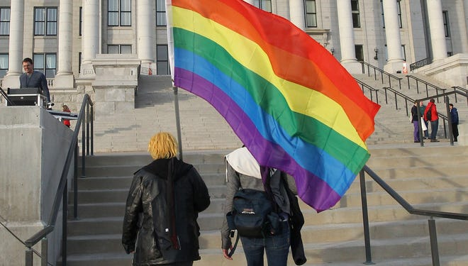 Gay marriage supporters arrive for a rally at the Utah State Capitol in Salt Lake City in January.