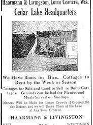 Cedar Lake Picnic Grounds ad, circa 1920.