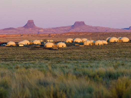 These domed houses in the badlands of northeastern