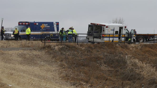 Emergency crews respond to a crash involving a Gold Cross ambulance and a truck Thursday, Jan. 11, 2018, on West Sunnyview Road near Green Valley Road in the town of Oshkosh.