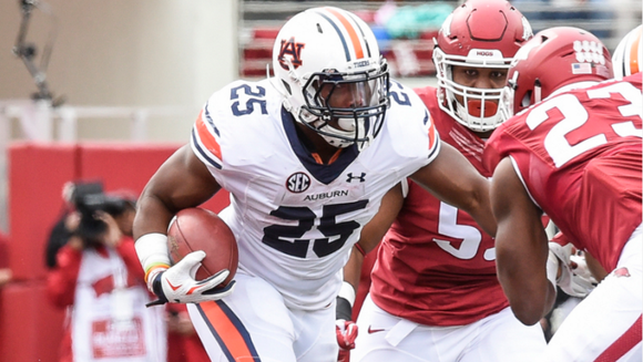 Auburn running back Peyton Barber scored three of his