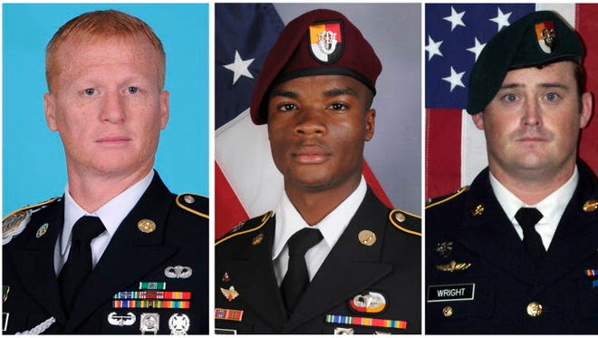 These images provided by the U.S. Army show, from left, Staff Sgt. Bryan C. Black, 35, of Puyallup, Wash.; Staff Sgt. Jeremiah W. Johnson, 39, of Springboro, Ohio; Sgt. La David Johnson of Miami Gardens, Fla.; and Staff Sgt. Dustin M. Wright, 29, of Lyons, Ga. A senior U.S. defense official says the military suspects that American special forces were ambushed in Niger after someone in the village they visited told enemy fighters they were in the area. The Army Green Berets and about 30 Niger forces stopped in a village for an hour or two to get food and water after conducting an overnight reconnaissance mission. All four were killed in Niger, when a joint patrol of American and Niger forces was ambushed by militants believed linked to the Islamic State group. (U.S. Army via AP) ORG XMIT: WX109