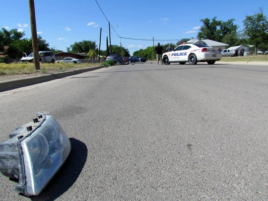 Debris was scattered far and wide after an accident at Greene and Ash streets on Friday afternoon.