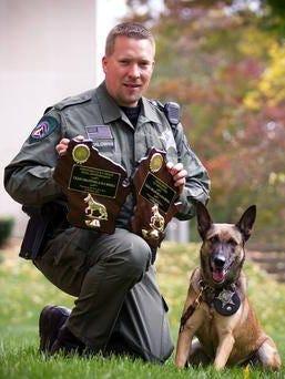 Adams County Deputy Craig Orlowski and his police dog, Mieka