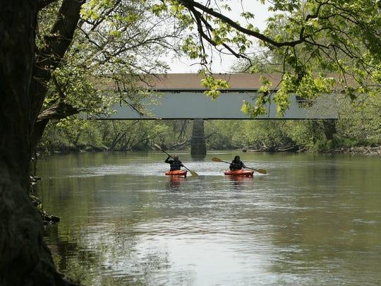 The White River with Noblesville's Potter's Bridge