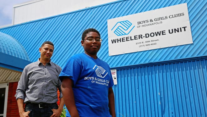 Chayzee Smith (left) and Jeffrey Hunt met at the Wheeler-Dowe Boys and Girls Club on East 30th Street. Smith, who was a member of the Keenan-Stahl Club as a youth, is a counselor in Pike Townships Schools and volunteers with the club.