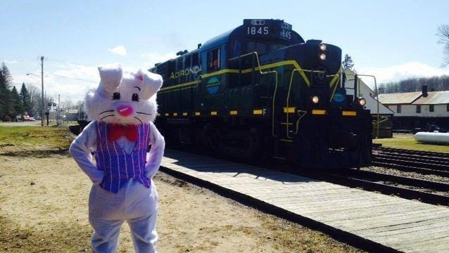 Children — and adults — can enjoy a ride with the Easter Bunny on the Adirondack Scenic Railroad on March 26.