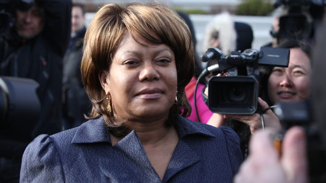 Former Spring Valley Mayor Noramie Jasmin outside U.S. District Court in White Plains after she was indicted on federal corruption charges in April 2013.