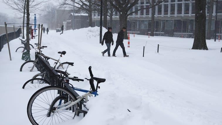 Snow buries bikes at Harvard University in Cambridge,