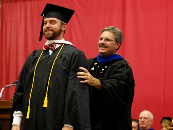 Jake Lowary was one of several graduates hooded during Austin Peay State University 85th Summer Commencement, Friday in the Dunn Center.