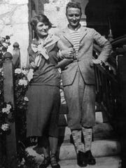 F. Scott Fitzgerald and his wife, Zelda Sayre, link arms in 1926.