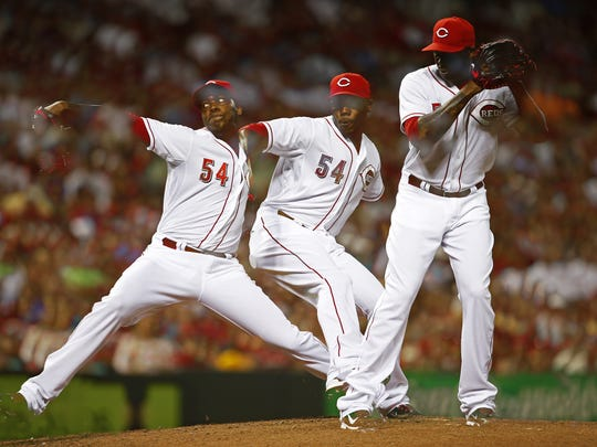 Cincinnati Reds closer Aroldis Chapman (54) is the only Reds player who was selected for the 2014 All-Star game who won't be making his first appearance.
