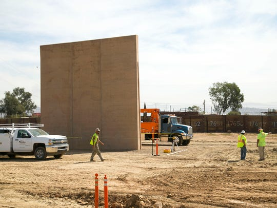 Construction continues of the border wall prototype