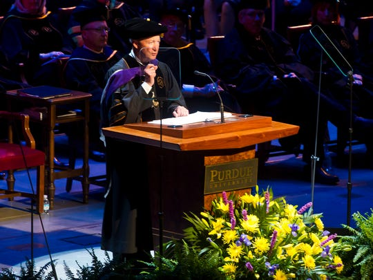 Purdue University President Mitch Daniels speaks during commencement.