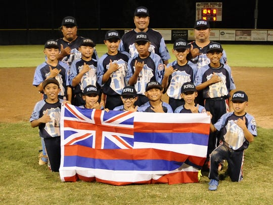 Hawaii wins 10-0 against Los Altos from Long Beach during the Pacific Southwest Regional Tournament at Riverway Sports Park in Visalia on July 22, 2017.