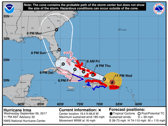Hurricane Irma 11 pm update Wednesday Cat 5 storm continues march