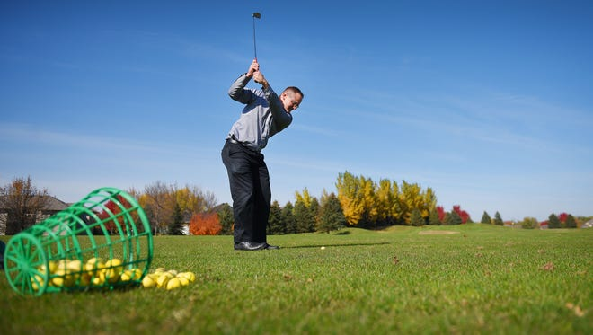 Matt Covey golfs at Prairie Green Golf Course Wednesday, Oct. 18, in Sioux Falls. Prairie Green Golf Course is one of the golf courses owned by the city of Sioux Falls.