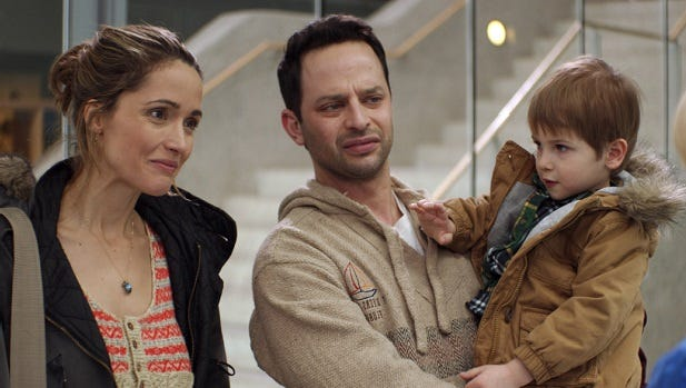"Justine (Rose Byrne) agrees to let her brother Jake (Nick Kroll) become her son's ""manny"" in ""Adult Beginners."" The little boy is played by twins Caleb and Matthew Paddock."