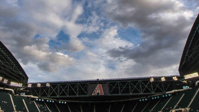 Clouds over Chase Field in Phoenix.