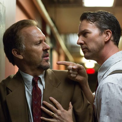 Michael Keaton (left) and Edward Norton in a scene