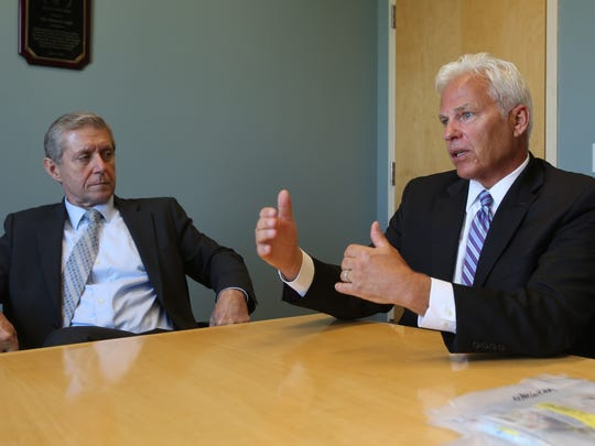 From left, Rockland County District Attorney Thomas Zugibe and Drug Task Force Director Christopher Goldrick talk about law enforcement's effort to curb illegal use of prescription painkillers and heroin.