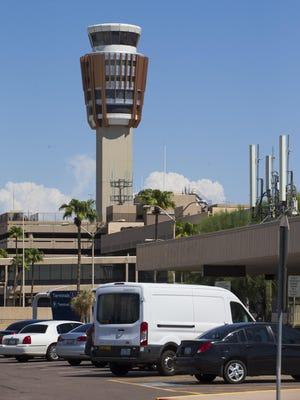 Air traffic control tower at Phoenix Sky Harbor Airport August 16, 2016.