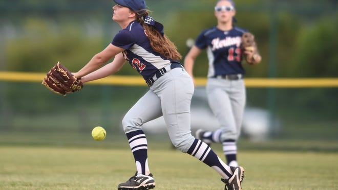 White House Heritage's Addison Holmes (12) misses a pop fly to centerfield by CAK in a Class AA softball game at StarPlex Park in Murfreesboro during Spring Fling on Wednesday, May 25, 2016.