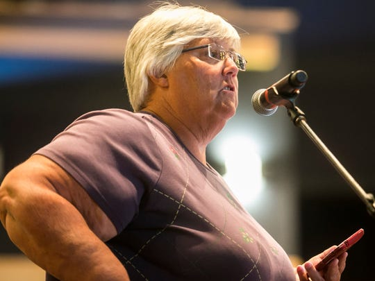 Retired Red Land High School teacher Marti Bert, of New Cumberland, raises questions to the West Shore school board during its meeting at Cedar Cliff High School on Thursday, Sept. 8, 2016, in Camp Hill. Amanda J. Cain photo