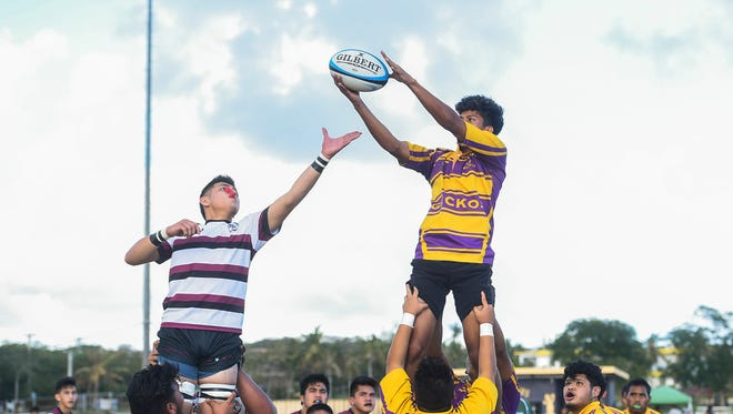 The top-seeded Father Duenas Friars collided with the George Washington Geckos during their Independent Interscholastic Athletic Association of Guam Boys' Rugby Semifinals matchup at the George Washington High School field on March 6, 2018.