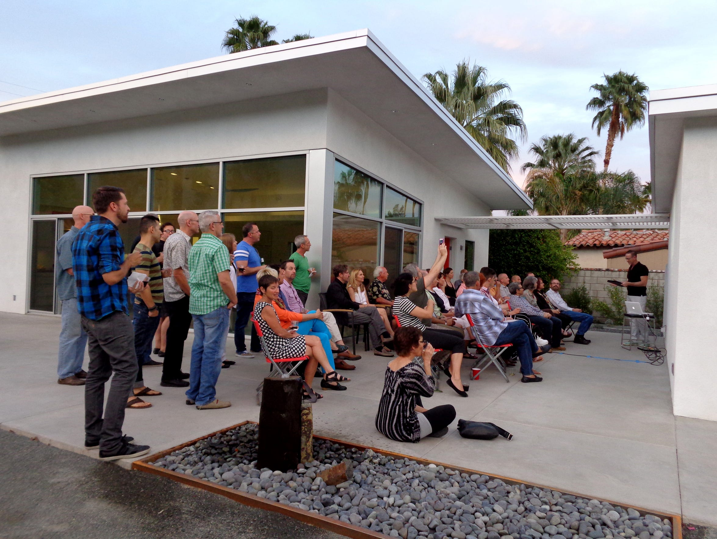 Parchies gather at a salon in Palm Springs.
