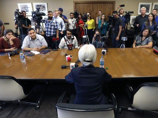 Dr. Diana Natalicio talks to El Paso media outlets
