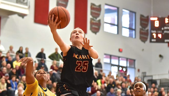 Lexi Fleming breaks through the Walnut Hills defense and scores for McAuley Saturday, March 3rd at Princeton High School