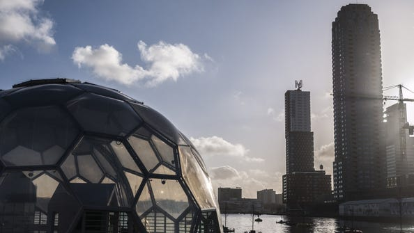 Floating buildings like this pavilion in Rotterdam's