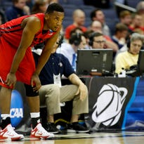 Dayton Flyers forward Dyshawn Pierre rests during the first half against the Oklahoma Sooners in the third round of the 2015 NCAA Tournament at Nationwide Arena.
