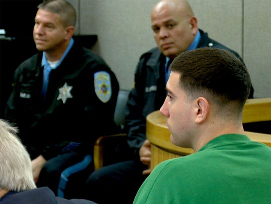 Joseph Villani is shown during a pretrial hearing with