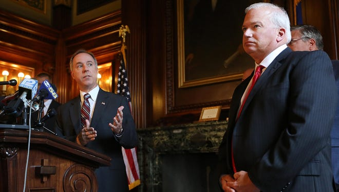 Wisconsin Assembly Speaker Robin Vos (R-Rochester), left, and Senate Majority Leader Scott Fitzgerald (R-Juneau) plan to hire redistricting lawyers but won't say how much it will cost taxpayers.