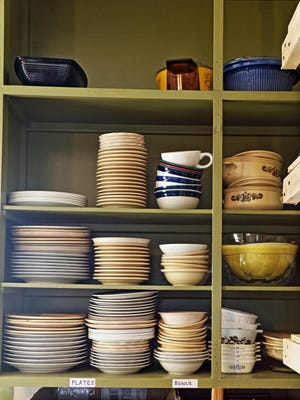 Dishes are available to those in need at C.A.S.E.Y.'s Cupboard, a new mission at First United Methodist Church.
